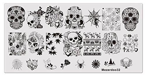 Spider Web Nails (Nail Stamping Plate Halloween Design Skull Flower Web Spider)