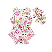 Anbaby Baby Girls Sleeveless Pom Pom Romper Various Patterns Floral Bodysuit Clothes (Unicorn Flower, S/0-6Months)