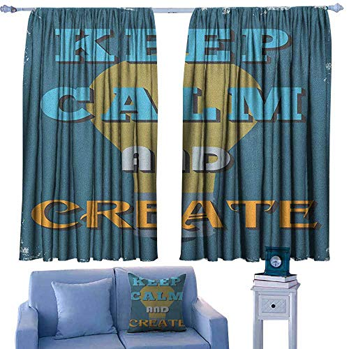 GAAGS Decor Waterproof Curtains,Keep Calm Vintage Motivational Quote Be Creative Poster Design Coming Up with New Ideas,Rod Pocket Drapes Thermal Insulated Panels Home décor,W72x72L Inches Multicolor ()