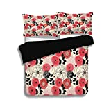 Cal King Vs King Comforter Size iPrint Black Duvet Cover Set Queen Size,Deer,Doodle Style Abstract Floral with Abstract Wildflowers Leaves and Animals,Vermilion Black Cream,Decorative 3 Pcs Bedding Set by 2 Pillow Shams