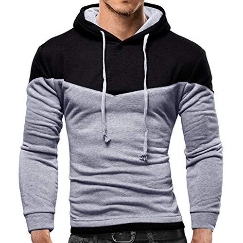 (NRUTUP Men's Full-Zip Hooded Fleece Sweatshirt Colorblock Hoodie Long Sleeve Top Blouse,)
