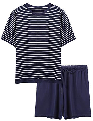 Ekouaer Comfy Shorty Pajamas Mens Casual Striped TeeShorts Soft SummerLoungerwear, Navy, X-Large