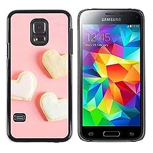 TopCaseStore / la caja del caucho duro de la cubierta de protección de la piel - Three white heart - Samsung Galaxy S5 Mini, SM-G800, NOT S5 REGULAR!