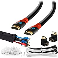 MAXIMM HDMI High Speed Cable 30 FT For Ethernet 3D - 4K - Audio Return - Blu-Ray - Playstation - XBox & Streaming. 24AWG - Cable Sleeve Ties Clips - 90 & 270 Degree Adapter Included