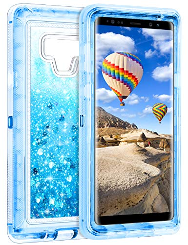 Coolden Galaxy Note 9 Case, Luxury Floating Glitter Case Sparkle Bling Quicksand Liquid Cover Clear Heavy Duty Bumper Dual Layer Anti-Drop PC Frame & TPU Back for Samsung Galaxy Note 9, Blue
