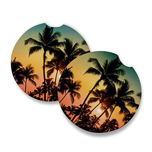- Palm Tree Sunset | Car Coasters for drinks Set of 2 | Perfect Car Accessories with absorbent coasters. Car Coaster measures 2.56 inches with rubber backing.