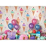 ice cream backdrop - Ice Cream Photo Background Backdrops for Girls Birthday Party 7x5ft Colorful Balloon with Gifts 1st Birthday Photo Background Infant No Crease