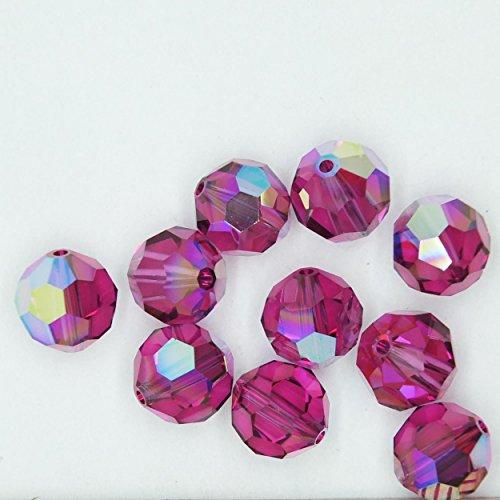 (Fuchsia Pink AB Iris Rainbow 8mm Swarovski Crystal Beads. Round. Made in Austria. Pack of 10)