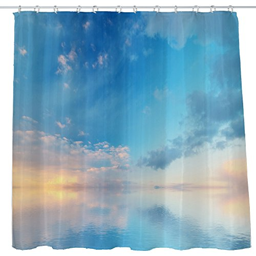 Non Toxic Plastic - Shower Curtain Cloth Fabric Waterproof Non-Toxic Polyester Decoration Washing Room 12 Self Grommets Plastic Rings Landscape Blue Sky Sea 72x72 inch (180x180cm) (11)