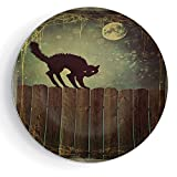 iPrint 8'' Halloween Angry Aggressive Cat on Old Wood Fences at Night Framework Eerie Vintage Print Decorative