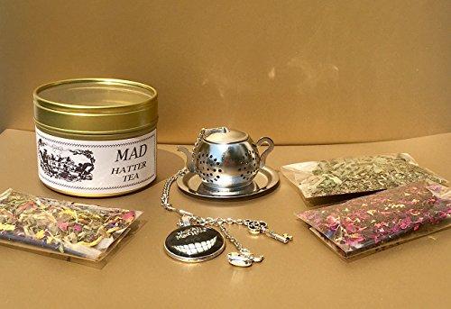 Mad Hatter Tea Party gift set, Alice in Wonderland, 3 Herbal tea samples, Tea infuser, Loose Tea Infuser, Mini Tea pot Strainer, Tea gift sets For Sale
