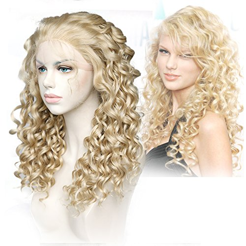Cbwigs Realistic Looking Long Curly Blonde Highlights Brown Synthetic Lace Front Wigs for Women 18