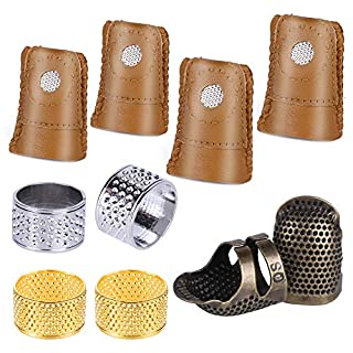 10 Pcs Thimble and Finger Protector, 3 Colors Metal Thimble, Copper Sewing Thimble with 4 Pcs Leather Finger Protector, Adjustable Finger Shield Ring for Sewing and Stitching Finger Protection