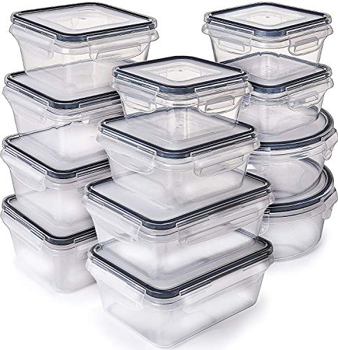 - Fullstar [12-Pack] Food Storage Containers with Lids - Plastic Food Containers with lids - Plastic Containers with lids - Airtight Leak Proof Easy Snap Lock and BPA Free Plastic Container Set