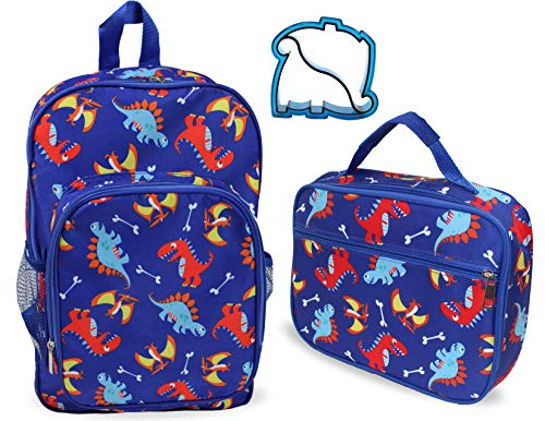Boys and Girls Kids Lunch Box and Backpack School Book Bag Set Blue Dinosaurs ()