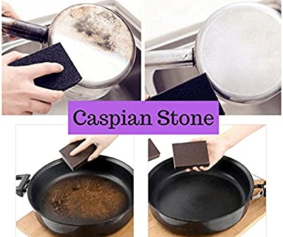 Cleaning Sponge & Scouring Pads with Carborundum - Black Caspian Stone - Best Eraser Sponges For Scrubbing Kitchen, Bathroom, Pots, Pans, Sinks - Just Add Water No Detergent Needed