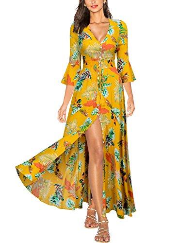 Women's Miusol Long Sleeve Dress Yellow Floral Summer 2 Flare Party 3 daqPwrfax