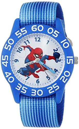 Marvel Boy's 'Spider-Man' Quartz Plastic and Nylon Casual Watch, Color:Blue (Model: WMA000172)