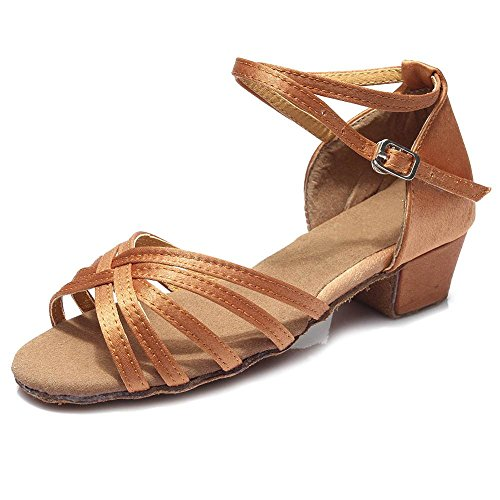 YFF Mädchen Kinder/Kind/Kinder ballroom Tango Salsa Latin Dance Schuhe niedrigem Absatz Schuhe, Braun, 4,5