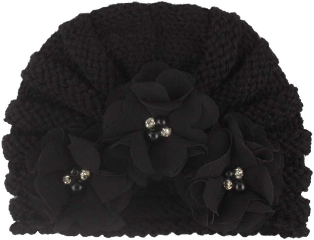 Tronet Baby Boys Girls Winter Knit Hats,Newborn Baby Boy Girl Knitted Bead Turban Hat Hair Band Beanie Headwear Cap Sets