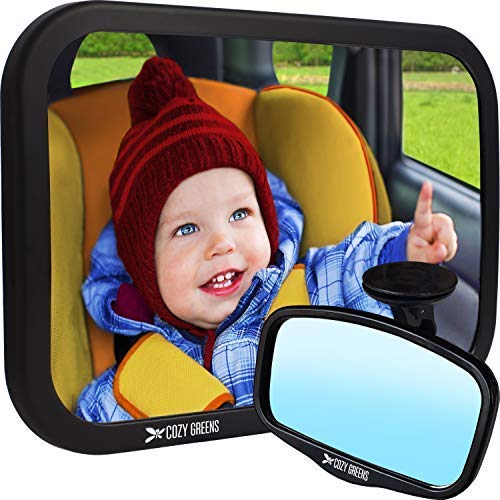 Car Seat Fix Baby (COZY GREENS Baby Car Mirror | Baby Mirror for Car Back Seat | Carseat Mirrors for Backseat Rear Facing Infant | 100% Lifetime Satisfaction Guarantee | Crash Tested | Premium Matte Finish)