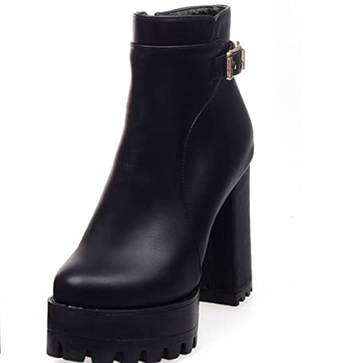Buckle Decoration Mature Mid Calf Round Toe Women's Ankle High Boots