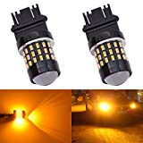 KATUR 2pcs Super Bright 3157 3047 3057 3057A 3155 3157A 3056 3156 3014 54SMD Lens LED Replacement Bulbs Turn Brake Signal Tail Back Up Stop Parking RV Lights Amber