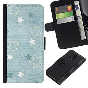 SAMSUNG Galaxy S4 IV / i9500 / SGH-i337 Modelo colorido cuero carpeta tirón caso cubierta piel Holster Funda protección - Baby Blue Cute Wallpaper Pattern