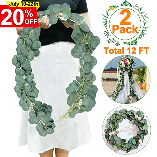 2 PCS Eucalyptus Garland-Total 12Ft Artificial Greenery Garland Vines Eucalyptus Leaf Garland Faux Silk Artificial Ivy Garland Hanging Wreath for Wedding Arch Backdrop Wall Party Decor]()