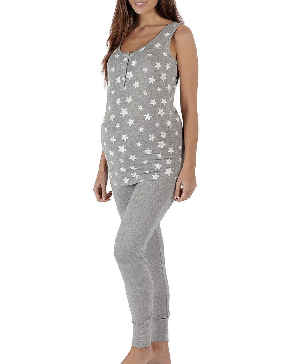 The Essential One - Womens Maternity/Nursing Star Jogger Pyjama Set - Grey - EOM214