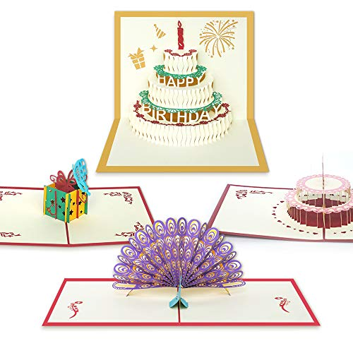 Farielyn-X 3D Pop Up Birthday Cards with Envelopes, Handmade and Laser Cut, for Sister, Mom, Wife, Kids, Boy, Girl, Friend with Beautiful Peacock (4 Pack)