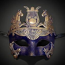 MasqueradeParty Roman Sun God Venetian Masquerade Mask Men - Vintage Gold