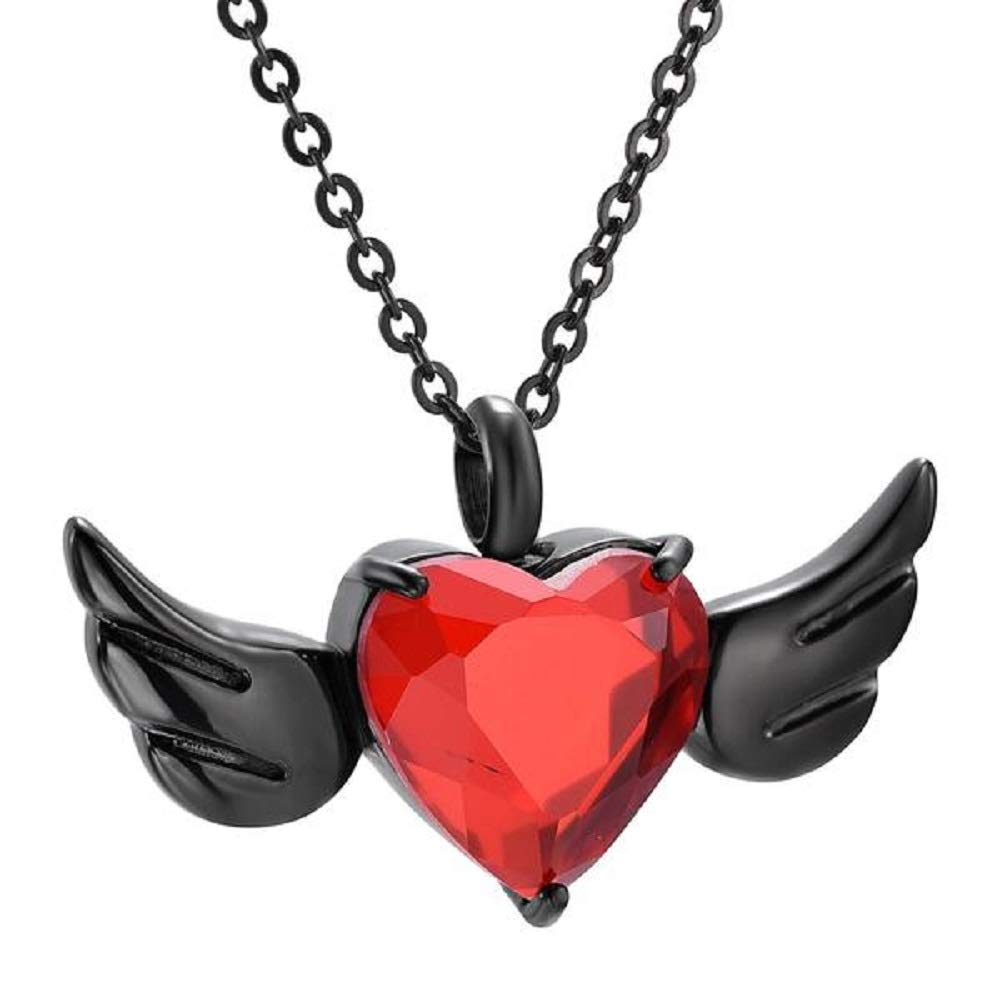 3 Pieces Pendant Kirijewels Pomegranate Cremation Angel Heart Wings Urn Necklace