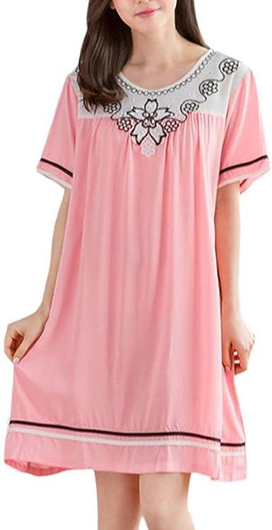 Vestido De Dormir Mujer Casual Hermoso Camisón Vestido Estampadas Manga Corta Verano Vestidos De Camisa Cuello Redondo Tallas Grandes Casuales Mujeres Ropa De Dormir Pijamas Mujer: Amazon.es: Ropa y accesorios