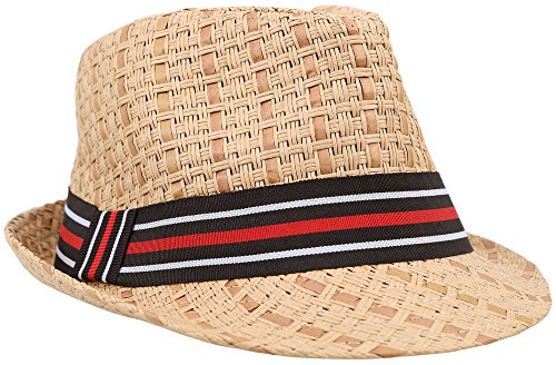 D Diana Dickson Men/Women's Summer 2 Tone Colored Straw Fedora Hat,BR/Stripe,LXL Stripe Straw Hat