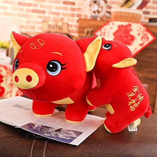 DONGER Pig Year Maskottchen Spielzeug Geschenk Neujahrsgeschenk, Golden Pig, 30Cm