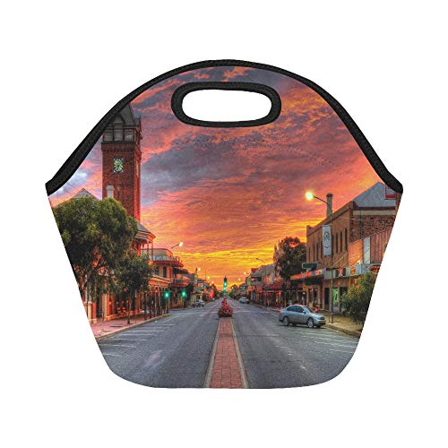 Insulated Neoprene Lunch Bag Broken Hill Mining City In The Western Island New Large Size Reusable Thermal Thick Lunch Tote Bags For Lunch Boxes For Outdoors,work, Office, School (Best Western Broken Hill)