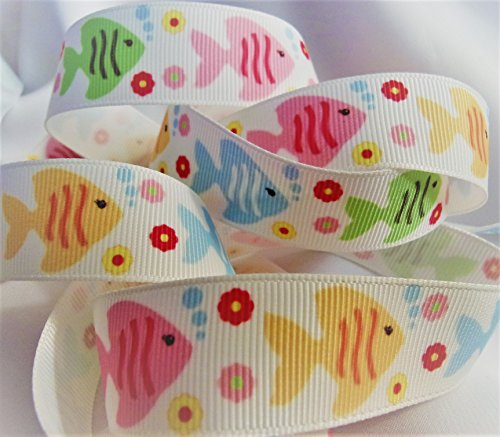 Grosgrain RibbonSummer Fish Print- 7/8