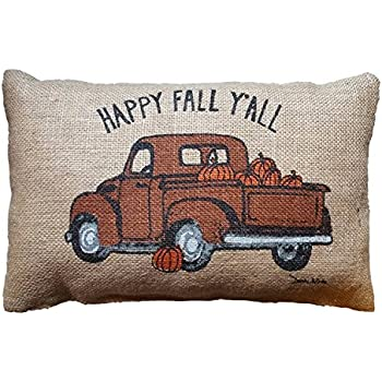 UOOPOO Happy Fall Y'all Truck Cotton Linen Pillow Cover 12 x 18 Inches Print on One Side Cushion Cover