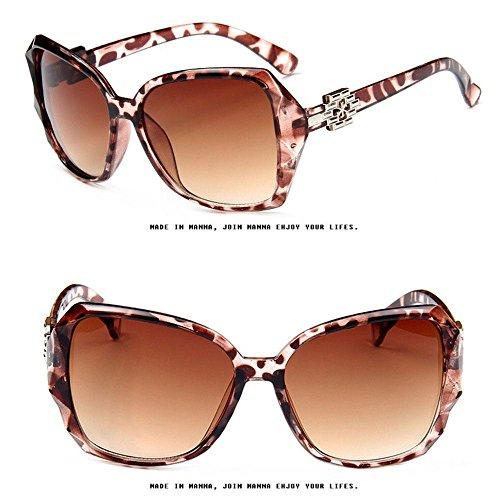 Grande Lisas Estilo Progressive KOBWA de con Moda de de Vintage Brown de Sol Gran Cristal Gafas polarizadas Caja Tamaño Estampado Leopardo de Diseño 0Tqp0Pw