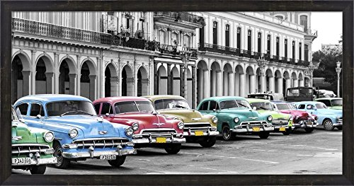 Cars Parked in Line, Havana, Cuba by Pangea Images Framed Art Print Wall Picture, Espresso Brown Frame, 38 x 20 - Brown Pictures Havana
