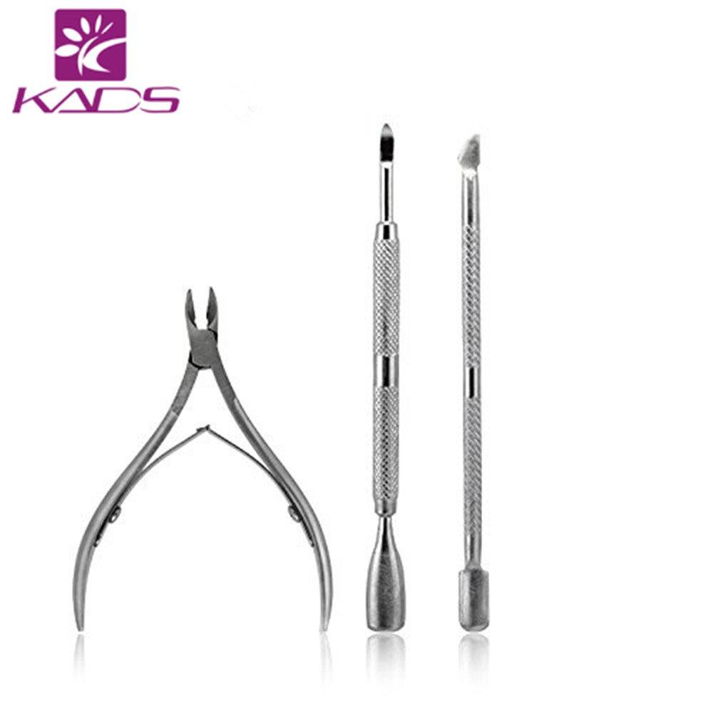 KADS 3pcs/set Stainless Steel Nail Tool Kits Scissor Nipper Cuticle Tool Spoon Pusher Dead Skin Remover Cutter Clipper Trimmer KADS Co. Ltd