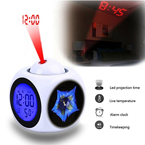 - Projection Alarm Clock Wake Up Bedroom with Data and Temperature Display Talking Function, LED Wall/Ceiling Projection,Customize the pattern-575.Gentian, Blue, Blossom, Bloom, Flower, Bloom, Grow