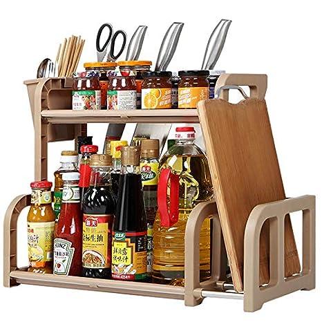 2-Tier Kitchen Spice Rack Organizer,Standing Rack Kitchen Countertop  Storage Organizer Shelf Holder,By Cq acrylic