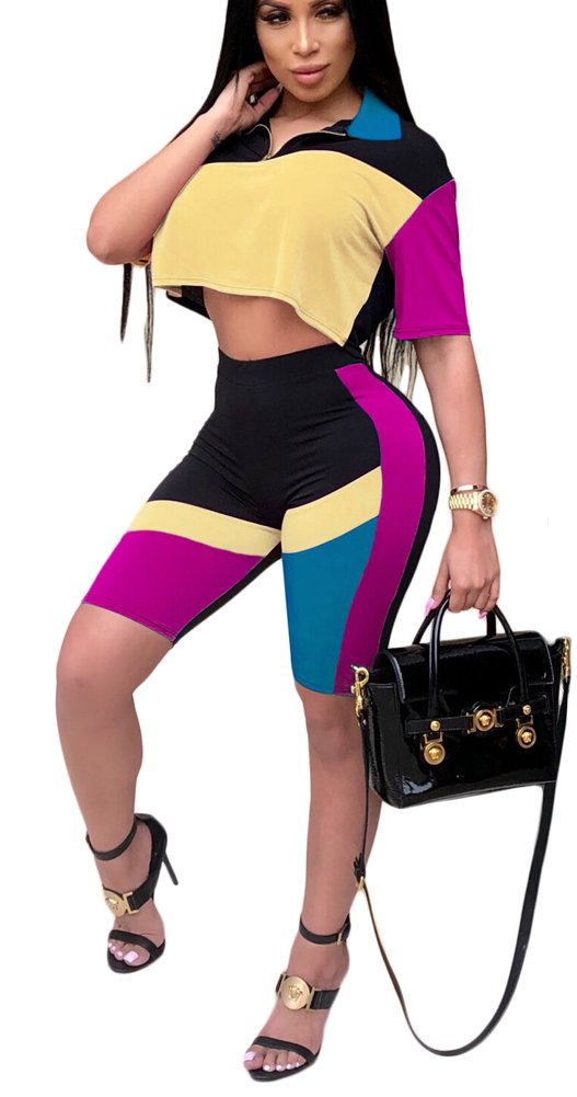 Womens Sexy Bodycon 2 Piece Outfits Short Sleeve Crop Top and Pants Set Large