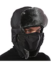 Unisex Winter Trooper Trapper Hat, Outdoor Heavyweight Russian Ushanka Hat with Windproof Mask and Ear Flaps Chin Strap for Men and Women