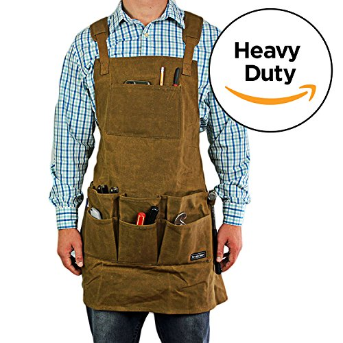 Smith Forge Heavy Duty Waxed Canvas Work Shop Tool Craft Barbecue Grill Apron  Brown