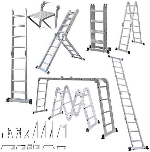 Scaffold - Escalera plegable de aluminio de alta resistencia con 4 peldaños para pintar escaleras con 1 placa de herramientas de 330 libras de carga: Amazon.es: Bricolaje y herramientas