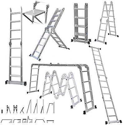 Escalera de andamio de 4,7 m, escalera multiusos de 6 vías, 14 en 1, con nueva bandeja de construcción de seguridad resistente, capacidad de carga de 150 kg, certificación EN131: Amazon.es: Bricolaje y herramientas