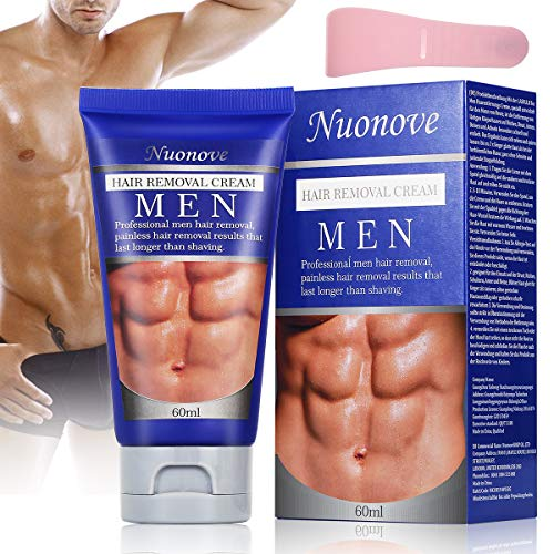 Hair Removal Cream for Men, Depilatory Cream, Natural Painless Permanent Thick Hair Removal Cream + Plastic Scraper, Used on Bikini,Underarm,Chest, Back, Legs and Arms for Men, 60ml from TOULLGO